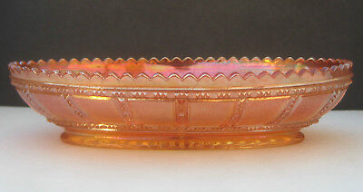 Carnival Glass Imperial Beaded Block Marigold Iridescent Relish Celery Dish