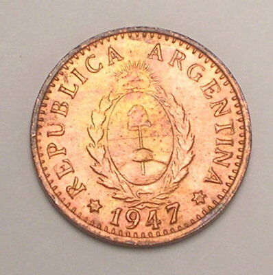 1947 Argentina Argentinian One 1 Centavo Liberty Cap Coin VF