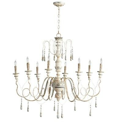 French Vintage Style Chantal Chandelier 8 Light Wood & Iron Country Cottage Chic