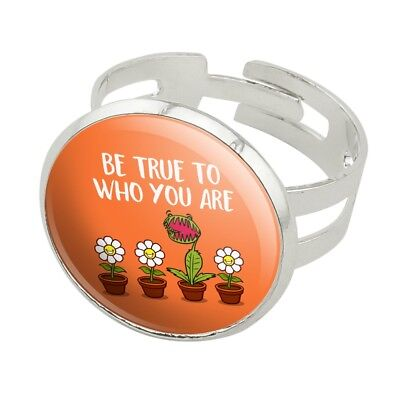 Be True To Who You Are Flowers Plants Silver Plated Adjustable Novelty Ring