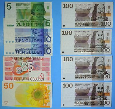 Lot of 9 1968 - 1989 Netherlands 5 10 25 50 & 100 Gulden Notes 500 Gulden Total