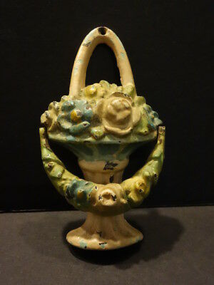 All Original Antique Hubley Basket Of Flowers Cast Iron Door Knocker
