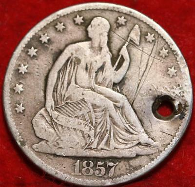 1857-O New Orleans Mint Silver With Hole Seated Liberty Half Dollar