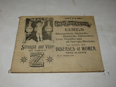 % VINTAGE EARLY 1900's ZAGEL'S SWEDISH ESSENCE HEALTH ADVERTISING BOOKLET %