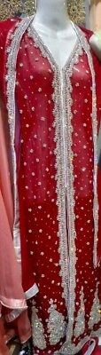 Pakistani asian indian stonework shalwar Kameez long dress
