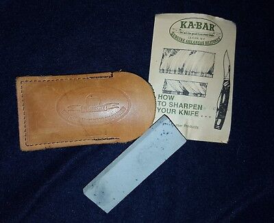 Vintage KA-BAR GENUINE ARKANSAS OILSTONES in Leather Pouch Sharpening Stone
