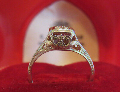 14K Antique Vintage Art Deco Filigree Floral Old Cut Diamond Engagement Ring