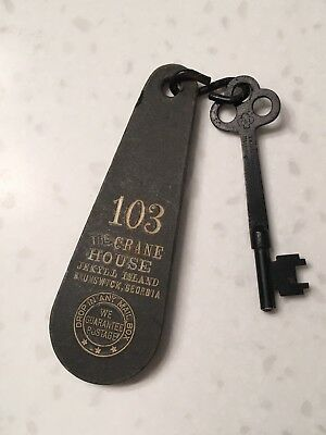Vintage Crane House Hotel Room Key And Tag, Jekyll Island, GA, Skeleton key