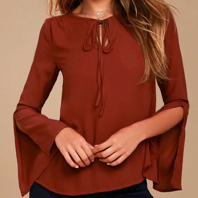 Ladies Flared Long Split Sleeve Office Shirt Tie Lace Up Blouses TopsRed-L