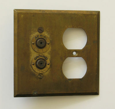 Brass Radio Aerial and Ground Switch Outlet Plate Cover Antique Used