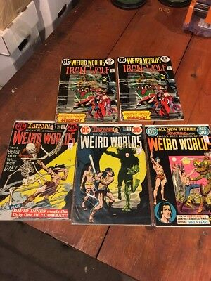 Lot Of Vintage Comic Books Dc Comics Low/mid Grade Weird Worlds 1,3,5,8,8
