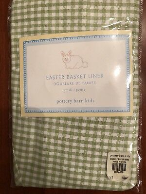 Pottery Barn Easter Basket Liner.  Green Gingham . New in Pkg  Size: small