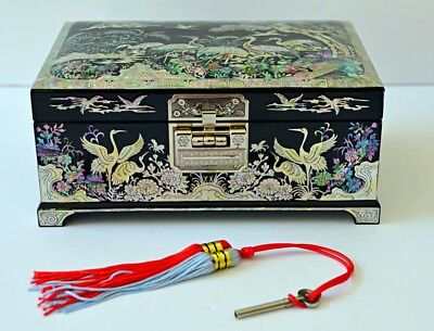 Korean Mother of Pearl Inlaid Lacquered Jewelry Box w Lock & Key