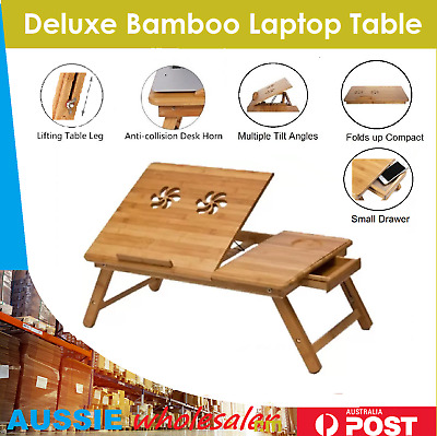 AU Folding Bamboo Laptop Table Desk Notebook Book Reading Bed Writing Tray Stand