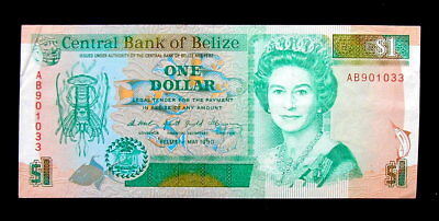 1990 BELIZE British Banknote 1 dollar aUNC high quality
