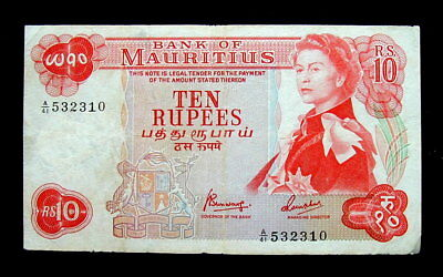 1967 MAURITIUS Banknote 10 rupees