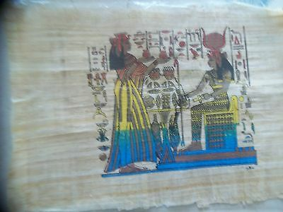 "Egyptian Papyrus, Hand Painted From Egypt, 24 X17"", Signed By Artist"