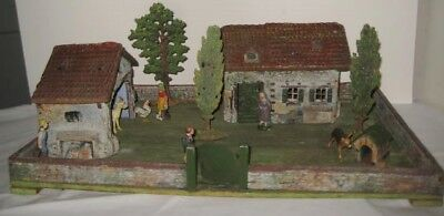 Old Rare 1920s German Elastolin Farmstead Platform w/ House Barn & 3 Trees +