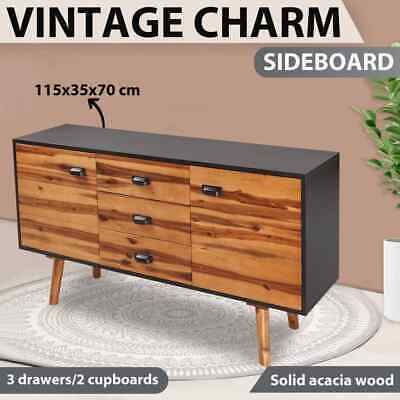 vidaXL Solid Acacia Wood Sideboard Buffet Hall Table Kitchen Cupboard Cabinet