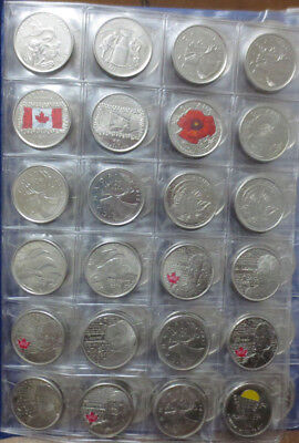 1968 to 2017 Canada 25 Cent Quarter Lot - 100 Coin Near Date Complete Collection