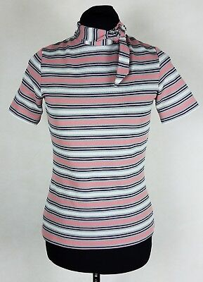 VTG 70s Miss Pat Womens XS Top Pink White Striped High Tie Neck Shirt Blouse