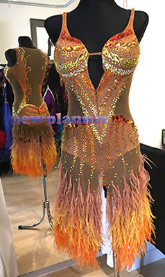 Feather Women Salsa Rumba Latin Competition Dance Dress US 6 UK 8 Flesh Orange