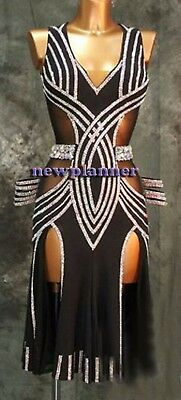 Women Ballroom Salsa Rumba Latin Samba Dance Dress US 10 UK 12 Two Black Sliver