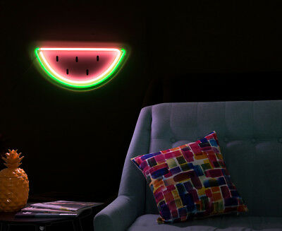LIT. 40x20cm LED Flexmelon Neon Watermelon Wall Light - Pink/Green