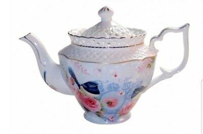 New Blue Wren Teapot Ceramic ChinaWare Porcelain Gift Box PRICE REDUCED