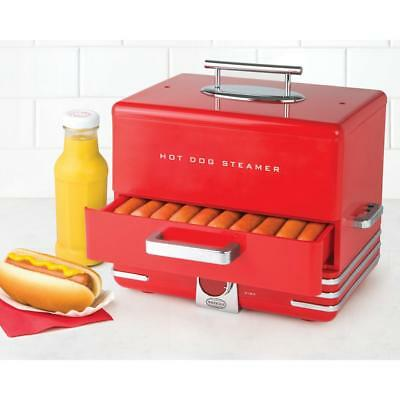 Hot Dog Steamer Cooker Machine Dinner Warmer Picinic Food Cooking Red 24-Buns