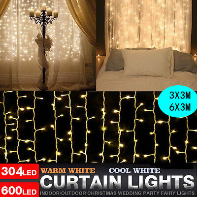 600 LED Winows Curtain Fairy Lights Twinkle / Flash Wedding Christmas Party Yard