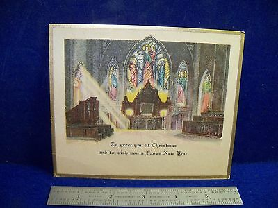 Vintage unused STAINED GLASS Window Church Organ Light is Streaming in xmas CARD