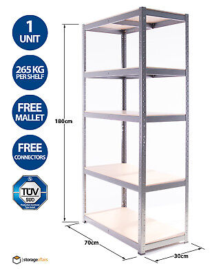 Shelving Unit Heavy-Duty Shed 5 Tier - 180x70x30cm Racking Shelf Storage