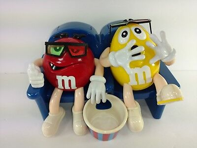 M&M Candy Dispenser At The Movies  Red Yellow 3D Glasses Novelty Collectible