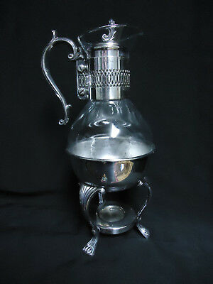 Vintage Silver Plate Corning Glass Coffee Tea Carafe with Footed Warmer Stand
