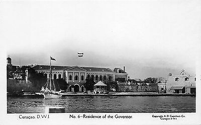 Curacao~Governor's Residence~Sailboat/Ship in Front~Gazebo~Vintage RPPC-Postcard
