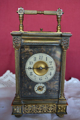 19th century French gilt metal carriage clock
