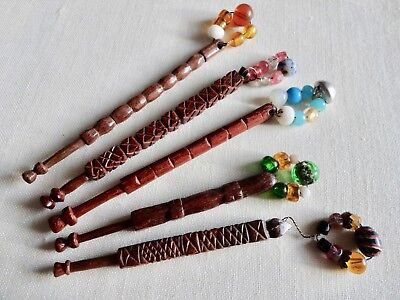 Five Rare Antique Hand Chip-Carved Wood Lace Maker's Bobbins