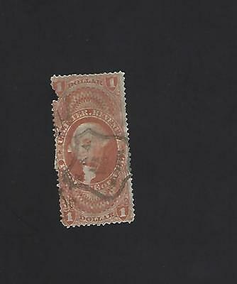 US R76c, $1 Probate of Will, nice handstamp cancel on faulty stamp