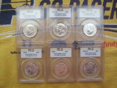Lot of 6 PCGS BU 1964 Kennedy Half Dollars 6 Coins Brilliant Uncirculated PCGS