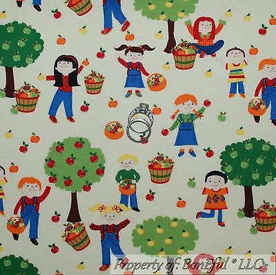 BonEful Fabric Cotton Quilt White Red Green APPLE Tree Boy Girl Kid Toile SCRAP