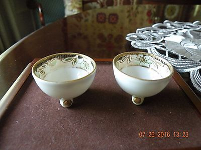 Antique Hand Painted Nippon Open Salt Cellars - Matched Pair