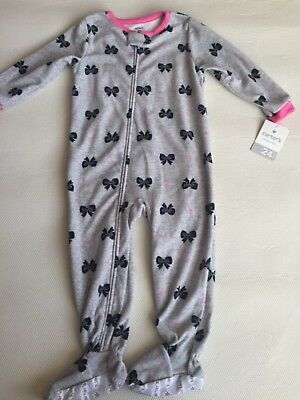 Carter's Girls size 24 Months Fleece Sleeper~New With Tags~Grey and Pink