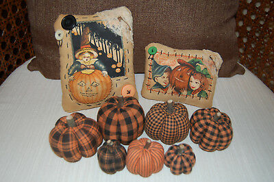 Primitive Halloween Bowl Filler Tucks Ornies Pillows Pumpkins Lot/9