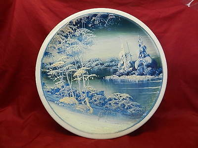 Gorgeous 1975 Hand Painted Lake Trees Plate Signed & Dated by M. Spencer #1597
