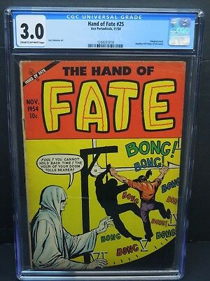 Ace Periodicals Hand Of Fate #25 1954 Cgc 3.0 Pre Code Horror Hanging Cover