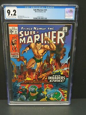Marvel Comics Sub-Mariner #21 1970 Cgc 9.2 Ow/wp Marie Severin Cover Art