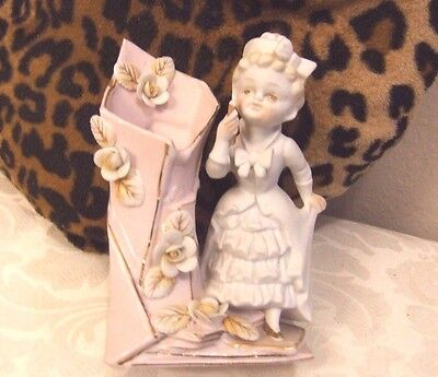 Vintage Bisque Figurine Girl Standing By Vase Like Pink With White Flowers