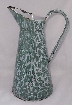 "Antique French 15"" BlueGreen & White Swirl Enamelware Graniteware Pitcher SD-111"