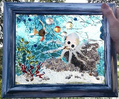 Stained Glass Mosaic Blue Window Octopus Angel Fish Original Coastal Art Sea NEW
